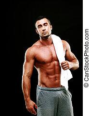 toalla, tenencia, muscular, negro, Plano de fondo, hombre,...