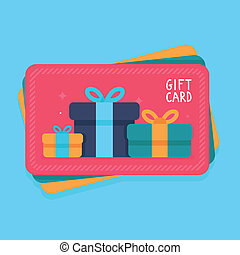 Vector gift card in flat style - shopping certificate with...