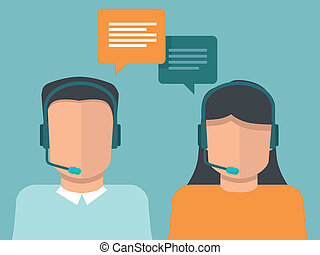 Vector flat call center operators - man and woman working as...