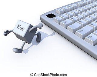 escape key run away from a keyboard. 3d illustration