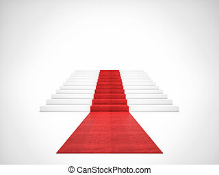 red carpet stair - 3d image of red carpet on white stair