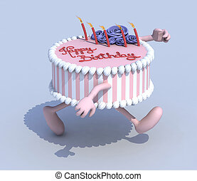 cartoon cake with arms and legs runner, 3d illustration