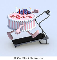 cake with arms and legs on running machine - cartoon cake...