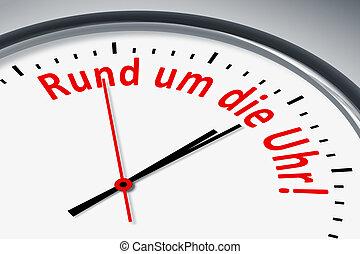 Uhr mit Text - Eine Uhr mit Text Rund um die Uhr