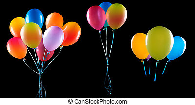 flying balloons isolated on a black background