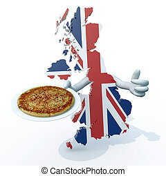English pizza concepts - English map cartoon with arms and...