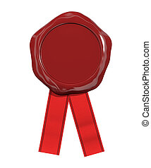 Red seal wax with ribbon