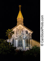 Oura Church, Nagasaki Japan - Night view of Oura Church in...