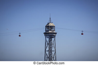 Torre Jaume Barcelona, funicular with two cableway cars and...