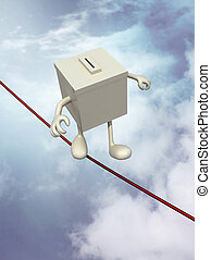 ballot box poised on the wire, 3d illustration on sky...