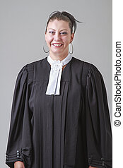 Woman lawyer - Mid-thirties woman in black lawyer toga