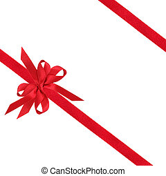 Red Ribbon and Bow - Red ribbon and bows over white...