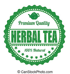 Herbal tea stamp - Herbal tea grunge rubber stamp on white...