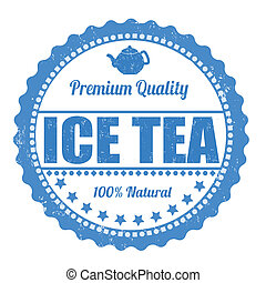 Ice tea stamp - Ice tea grunge rubber stamp on white...