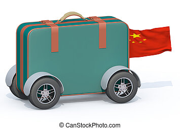 luggage with tires and china flag, 3d illustration