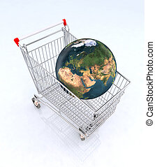 world on the shopping cart