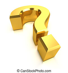 3d Gold question mark