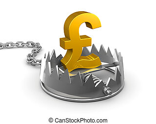 3d UK Pounds Sterling in a bear trap - 3d render of a gold...