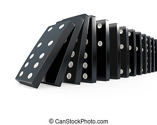 3d Black dominoes chain reaction - 3d render of crashing...
