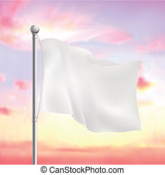 blank white flying flag over the sky