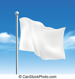 blank white flying flag over blue sky
