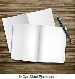 blank open books over wooden desk