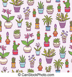 Home plants seamless pattern background