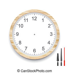 blank wooden clock face isolated on white