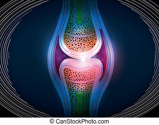 Synovial joint anatomy abstract bright design. Healthy joint...