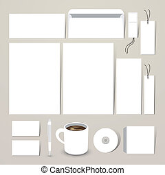 blank stationery set for corporate identity system
