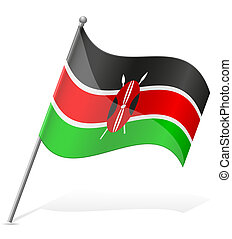 flag of Kenya vector illustration isolated on white...