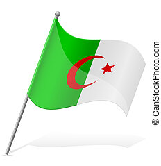 flag of Algerian vector illustration isolated on white...