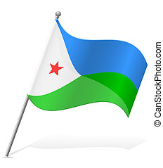 flag of Djibouti vector illustration isolated on white...