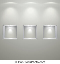 white wall with empty niches