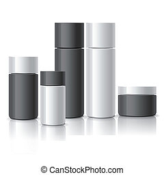 blank cosmetic containers set