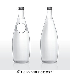 glass bottle with blank label isolated on white background