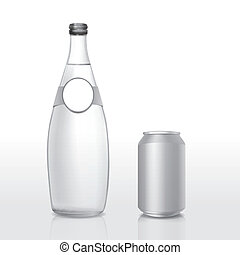 glass bottle and can with blank label isolated on white...