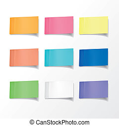 blank colorful sticky notes set over white background
