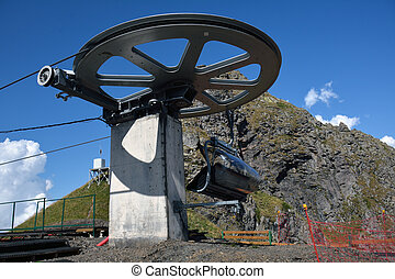 A chairlift rotating mechanism with the landing platform