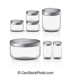 empty glass jar set isolated on white background