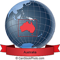 Australia, position on the globe Vector version with...