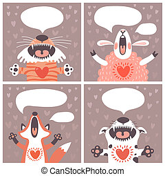 Set of cards with funny animals Vector illustration