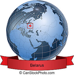 Belarus, position on the globe Vector version with separate...