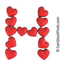 letter h with red hearts, 3d illustration