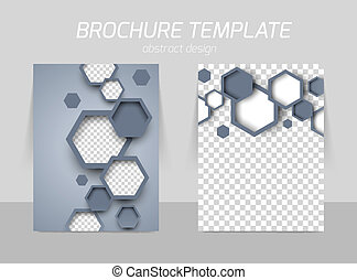 Flyer back and front template design with gray hexagons