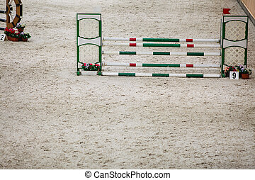 verde, rojo, blanco, obstáculo, Saltar, caballos,...