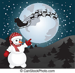 Card with Santa and snowman. vector