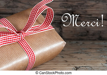 Rustic Gift with Merci - Rustic Gift on Wood with the French...
