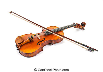 A violin with bow on white background