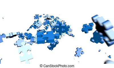 Puzzle pieces assembling in head